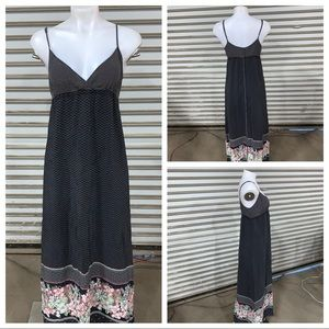 Quicksilver spaghetti strap 100% silk maxi dress